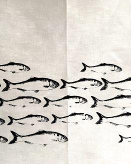 Handtuch grau Fischschwarm