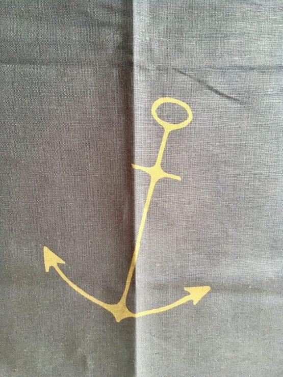 Handtuch Anker grau mit gold