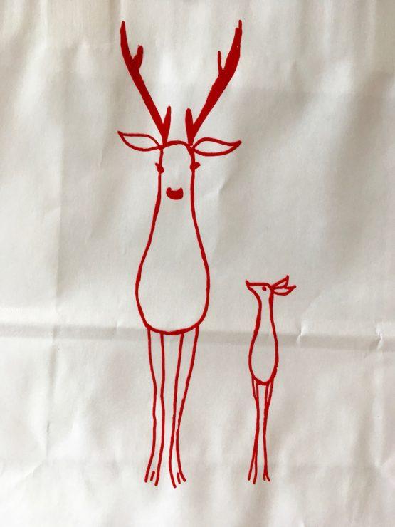 Papiertüte Hirsche rot