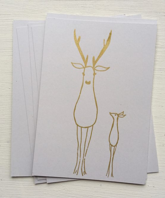 Postkarte Hirsch gold